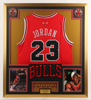 Michael Jordan Chicago Bulls 32x36 Custom Framed Jersey with (5) Championship Pins at PristineAuction.com