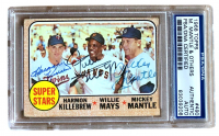 Harmon Killebrew, Willie Mays & Mickey Mantle Signed 1968 Topps #490 Super Stars (PSA Encapsulated) at PristineAuction.com