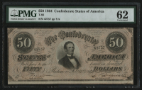 1864 $50 Fifty Dollars Confederate States of America Richmond CSA Bank Note Bill (T-66) (PMG 62) at PristineAuction.com