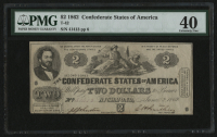 1862 $2 Two Dollar Confederate States of America Richmond CSA Bank Note Bill (T-42) (PMG 40) at PristineAuction.com