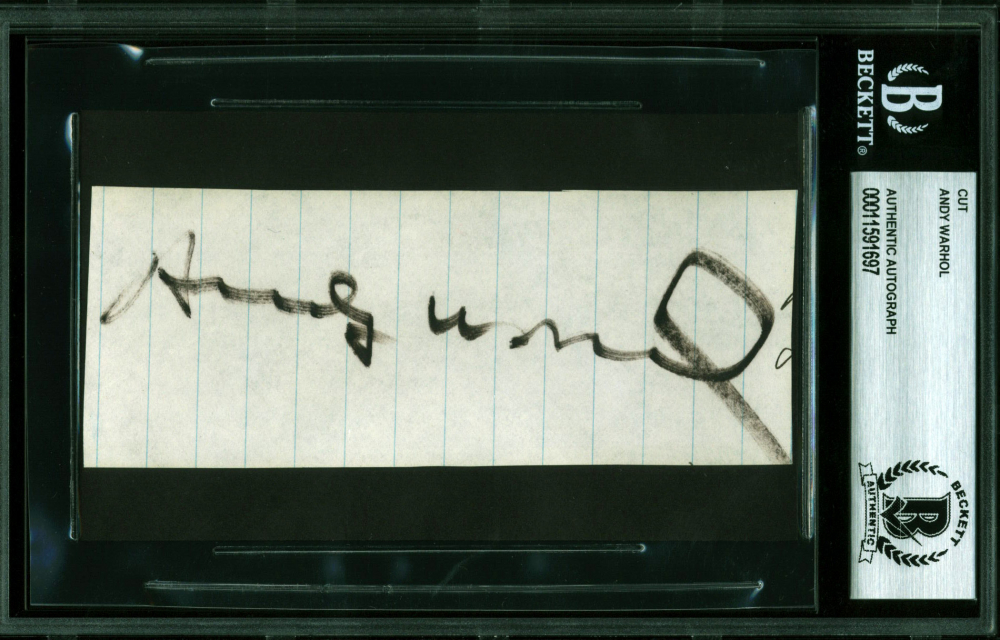 Andy Warhol Signed 2x5 Cut (BGS Encapsulated) at PristineAuction.com