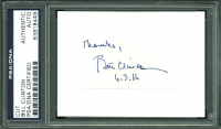 "Bill Clinton Signed 1.25x2.25 Cut Inscribed ""Thanks"" & ""6.3.16"" (PSA Encapsulated) at PristineAuction.com"