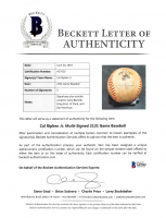 Commemorative 1995 Cal Ripken Jr. Logo Game-Used OAL Baseball Signed by (5) with Cal Ripken Jr., Larry Barnett, Greg Kosc, Al Clark, & Dan Morrison (Beckett LOA) at PristineAuction.com