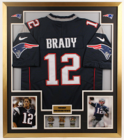 Tom Brady New England Patriots 32x36 Custom Framed Jersey Display with Championship Pins at PristineAuction.com