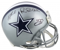 "Troy Aikman, Emmitt Smith & Michael Irvin Signed Dallas Cowboys Full-Size Helmet Inscribed ""HOF 2007,"" ""HOF '06"" & ""HOF 2010"" (Beckett COA & Prova Hologram) at PristineAuction.com"