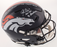 John Elway Signed Denver Broncos Full-Size Authentic On-Field SpeedFlex Helmet with Multiple Career Stat Inscriptions (Beckett COA) at PristineAuction.com