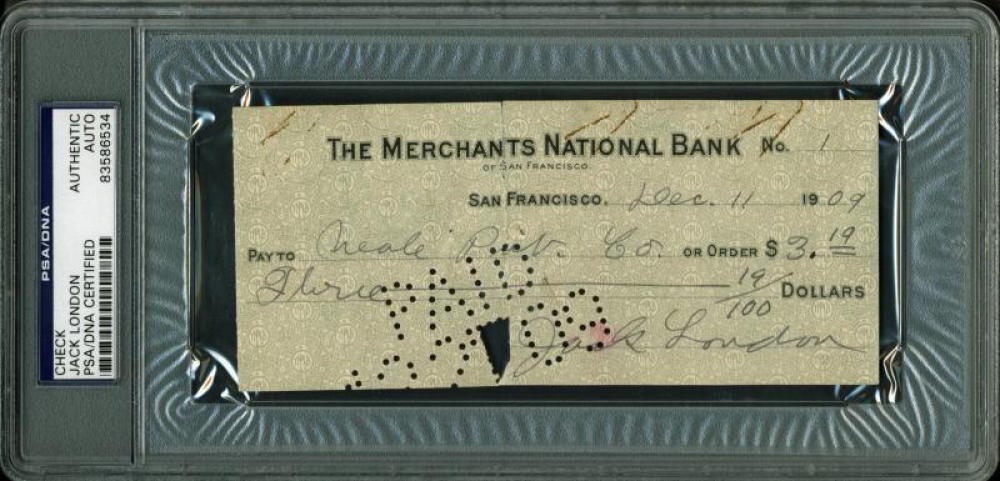 Jack London Signed 1909 Personal Bank Check (PSA Encapsulated) at PristineAuction.com