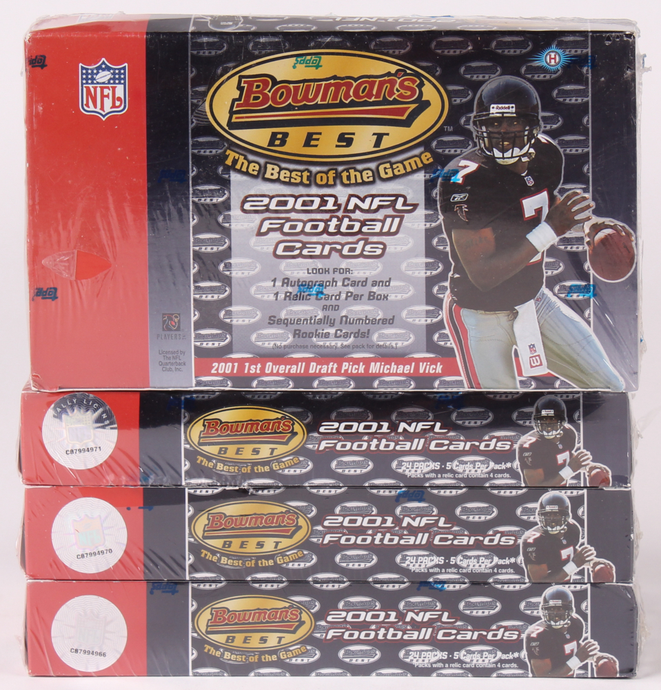 Lot of (4) 2001 Bowman's Best Football Hobby Boxes at PristineAuction.com