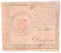 1779 $1 One Dollar Continental Colonial Currency Note at PristineAuction.com