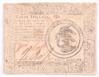 1777 $3 Three Dollars Continental Colonial Currency Note at PristineAuction.com