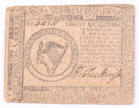 1775 $8 Eight Dollars Continental Colonial Currency Note at PristineAuction.com