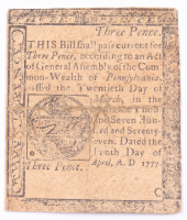 1777 Three Pence Pennsylvania Colonial Currency Note at PristineAuction.com