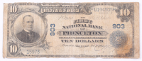 1902 $10 Ten Dollars U.S. National Currency Large Bank Note - The First National Bank of Princeton, Illinois at PristineAuction.com