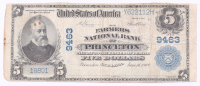 1902 $5 Five Dollars U.S. National Currency Large Bank Note - The Farmers National Bank of Princeton, Illinois at PristineAuction.com