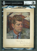 John F. Kennedy Signed 6x6.75 Time Magazine Portrait Photo with Inscription (BGS Encapsulated) at PristineAuction.com