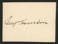Benjamin Harrison Signed 2.5x3.5 Cut (JSA ALOA) at PristineAuction.com