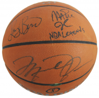 "Michael Jordan, Larry Bird & Magic Johnson Signed Official NBA Game Basketball Inscribed ""NBA Legends"" (UDA COA, Beckett COA & Bird Hologram) at PristineAuction.com"