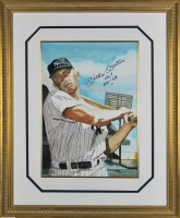 """Mickey Mantle Signed New York Yankees 14x18 Custom Framed Watercolor Lithograph Display Inscribed """"No. 7"""" & """"1951-'68"""" (Beckett LOA) at PristineAuction.com"""