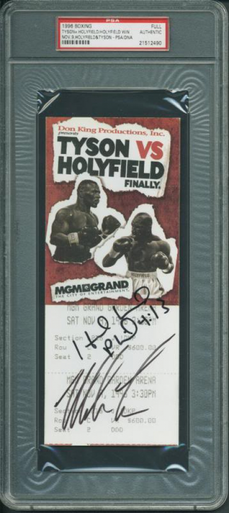 """Mike Tyson & Evander Holyfield Signed 1996 """"Finally"""" World Boxing Association Heavyweight Championship Ticket (PSA Encapsulated) at PristineAuction.com"""