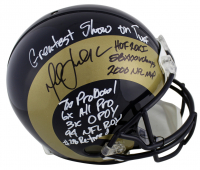 Marshall Faulk Signed St. Louis Rams Full-Size Authentic On-Field Helmet with (9) Inscriptions (Beckett COA) at PristineAuction.com