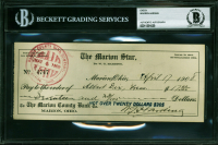 Warren G. Harding Signed 1908 Personal Bank Check (BGS Encapsulated) at PristineAuction.com