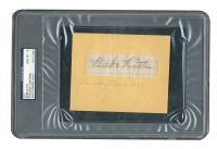 Babe Ruth Signed 1.2x3.5 Cut (PSA Encapsulated) at PristineAuction.com