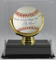 """Yogi Berra Signed OML Baseball Inscribed """"It Ain't Over Till It's Over"""" with High-Quality Display Case (PSA COA) at PristineAuction.com"""