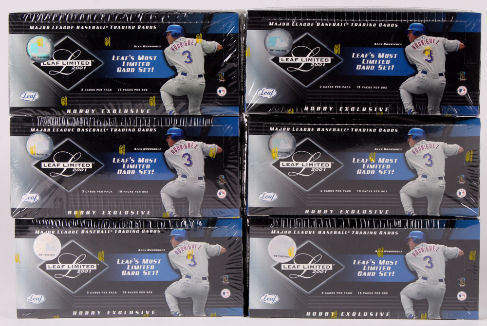 Lot of (6) 2001 Leaf Limited Hobby Exclusive Baseball Unopened Box with (18) Packs at PristineAuction.com