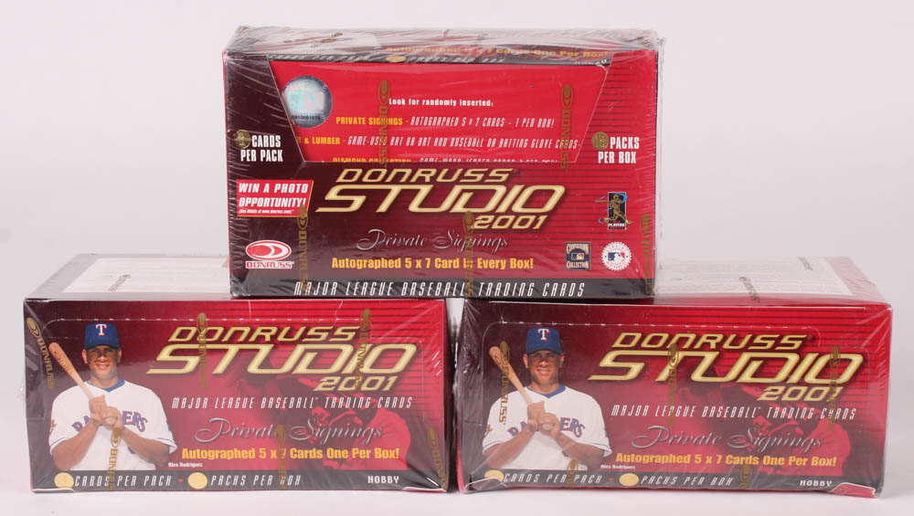 Lot of (3) Factory Sealed 2001 Donruss Studio Baseball Card Boxes at PristineAuction.com
