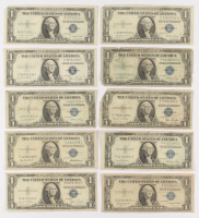Lot of (10) 1935 $1 One-Dollar Blue Seal Silver Certificates at PristineAuction.com