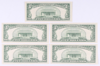 Lot of (5) 1953-A $5 Five Dollar Silver Certificate Bank Notes with Consecutive Serial Numbers at PristineAuction.com