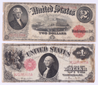 Lot of (2) 1917 Legal Tender Notes with $2 & $1 at PristineAuction.com