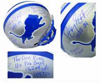 Barry Sanders Signed Lions Throwback Full-Size Authentic On-Field Helmet with Multiple Career Stat Inscriptions (Schwartz COA) at PristineAuction.com
