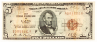 1929 $5 Five Dollars U.S. National Currency Bank Note with Brown Seal (The Federal Reserve Bank of Atlanta, Georgia) at PristineAuction.com