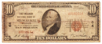 1929 $10 Ten Dollars U.S. National Currency Bank Note with Brown Seal (The First Wisconsin National Bank of Milwaukee, Wisconsin) at PristineAuction.com