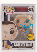 "Millie Bobby Brown Signed ""Stranger Things"" Eleven with Eggos Limited Chase Edition #421 Funko Pop! Vinyl Figure Inscribed ""011"" (JSA COA) at PristineAuction.com"