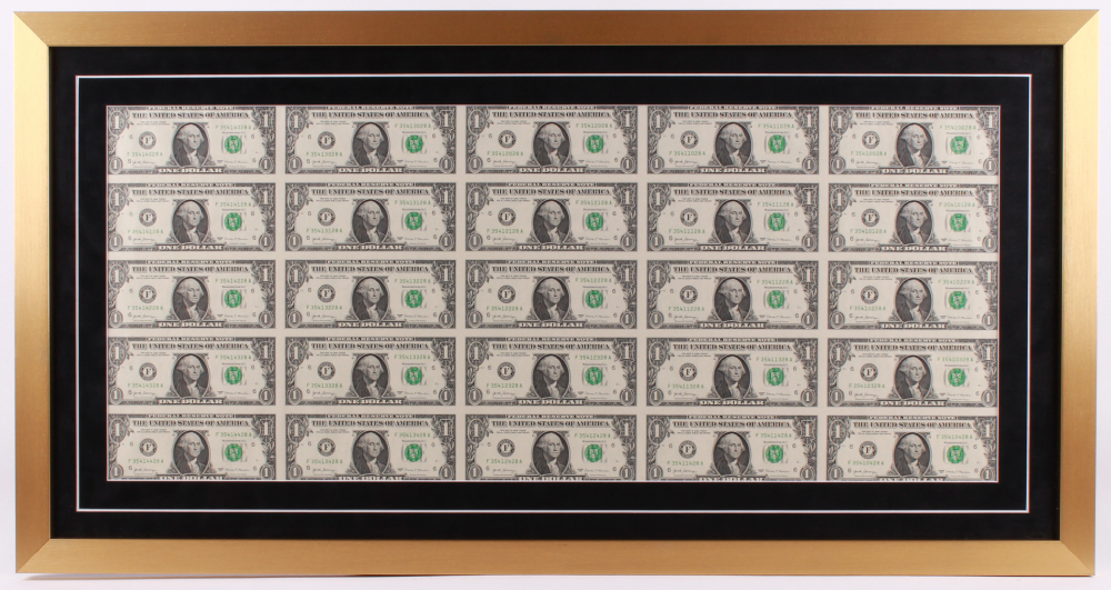 Uncut Sheets of (25) 2017 $1 One-Dollar Green Seal U.S. Federal Reserve Note Bills 19x36.5 Custom Framed Display at PristineAuction.com