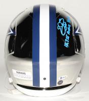 "Emmitt Smith & Tony Dorsett Signed Dallas Cowboys Full-Size Chrome Speed Helmet Inscribed ""18,355 Rushing Yards"" & ""12739 Rushing Yds."" (Beckett COA & Prova Hologram) at PristineAuction.com"
