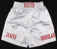 "James ""Buster"" Douglas Signed Boxing Trunks Inscribed ""Tyson KO 2/11/90"" (JSA COA) at PristineAuction.com"