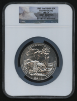 2010 5oz Silver Jumbo 25¢ - Yellowstone - Wyoming - America's National Treasures - Early Releases - Jumbo Quarter (NGC MS 69) at PristineAuction.com