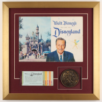 "Vintage 1959 Original ""Disneyland"" 17.5x17.5 Custom Framed Guide Display with Ticket Booklet & Brass Souvenir at PristineAuction.com"