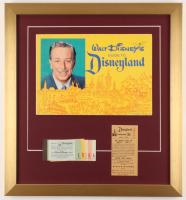 "Vintage 1962 Original ""Disneyland"" 17.5x19 Custom Framed Guide Display with Ticket Booklet & Parking Pass at PristineAuction.com"