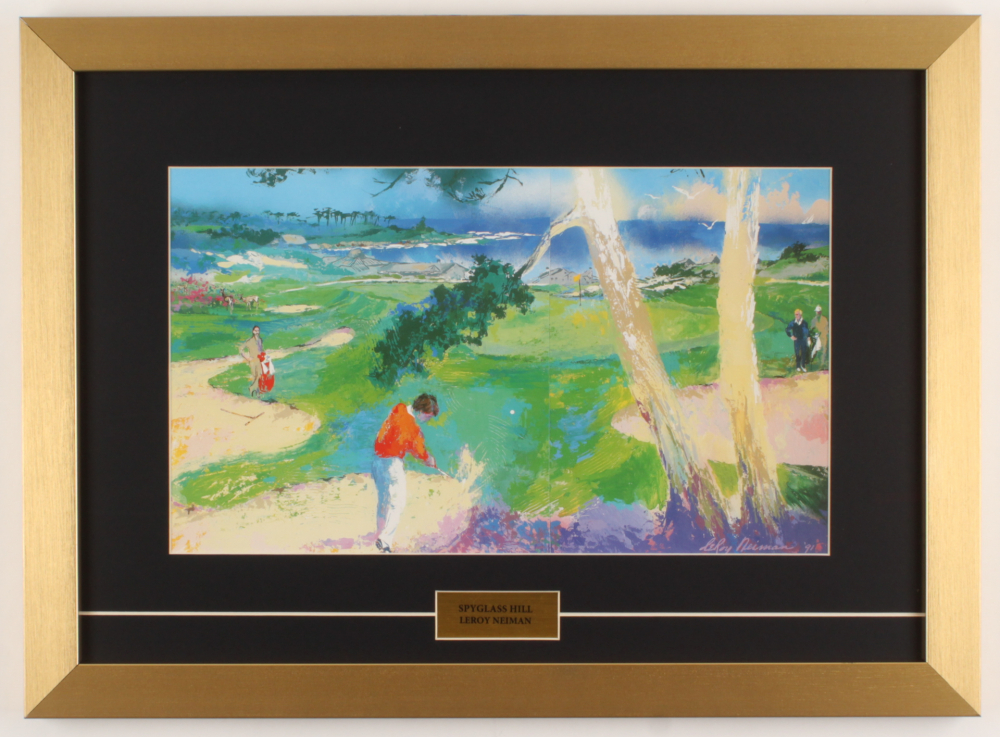 "LeRoy Neiman ""Spyglass Hill"" 16x21 Custom Framed Print Display at PristineAuction.com"