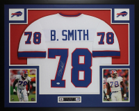 Bruce Smith Signed 35x43 Custom Framed Jersey (JSA COA) at PristineAuction.com