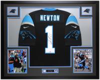 Cam Newton Signed 35x43 Custom Framed Jersey (Fanatics Hologram) at PristineAuction.com