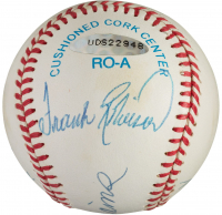 Triple Crown Winners OAL Baseball Signed by (4) with Mickey Mantle, Ted Williams, Carl Yastrzemki & Frank Robinson (UDA COA & PSA LOA) at PristineAuction.com