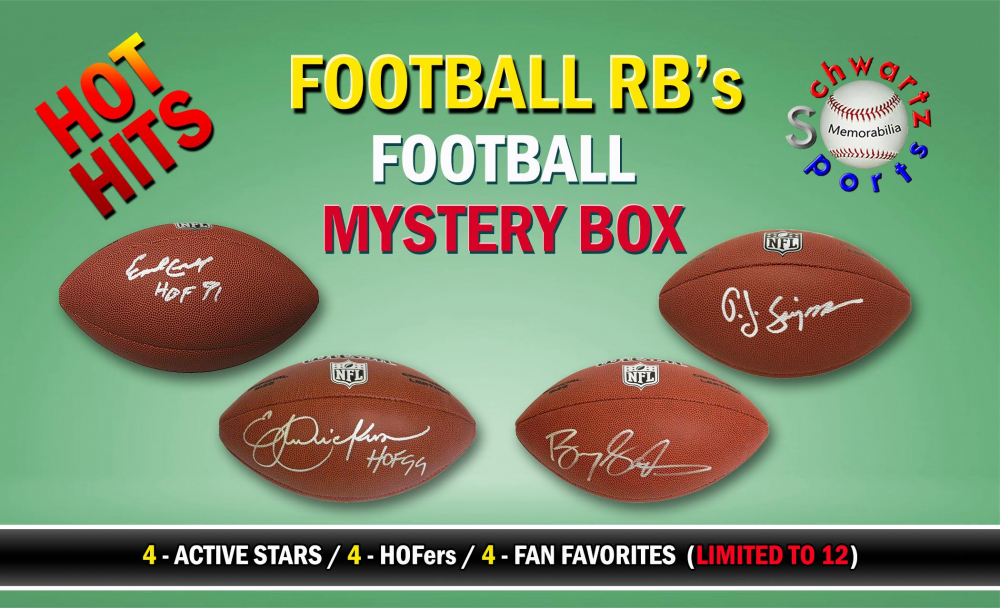 Schwartz Sports Hot Hits - Football Running Backs Signed Full Size Football Mystery Box – Series 1 (Limited to 12) at PristineAuction.com