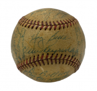 1953 New York Yankees Baseball Team-Signed By (32) With Yogi Berra, Mickey Mantle, Johnny Mize, Whitey Ford, Phil Rizzuto, Bill Dickey, Hank Bauer, Billy Martin, Johnny Sain, Ralph Hook (Beckett LOA) at PristineAuction.com