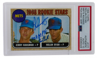 """Nolan Ryan Signed 1968 Topps #177 Rookie Stars RC Inscribed """"100.9 MPH Fastball"""" (PSA Encapsulated) at PristineAuction.com"""