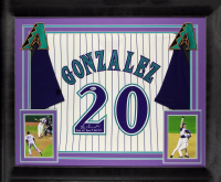 "Luis Gonzalez Signed Diamondbacks 32x37 Custom Framed Jersey Display Inscribed ""2001 WS Game 7 GW Hit"" (Beckett COA) at PristineAuction.com"